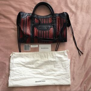 Balenciaga bag, new medium Marine/Bordeaux Stripes